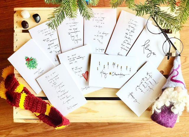 as you friends may know, all of my sets of cards, including all holiday sets, are build your own - designed to mix & match the perfect cards for all the different people in your life 💌 . but! I thought for the @yespleasedenver holiday market this weekend, I might build a few fun sets for you & your friends - like this ⚡️harrrrry potter set⚡️ with quotes from Albus, Sirius, Luna, Hagrid - the gang. perfect for all the witches & wizards in your life. . plus don't forget : my 13 Days of Giving are still happening and ALL sets & prints purchased between Dec. 1 - 13 will equal cards sent to folks in hospice over the holidays. xx 🌙 #tenpointstogryffindor #probablyfullofnargles #always
