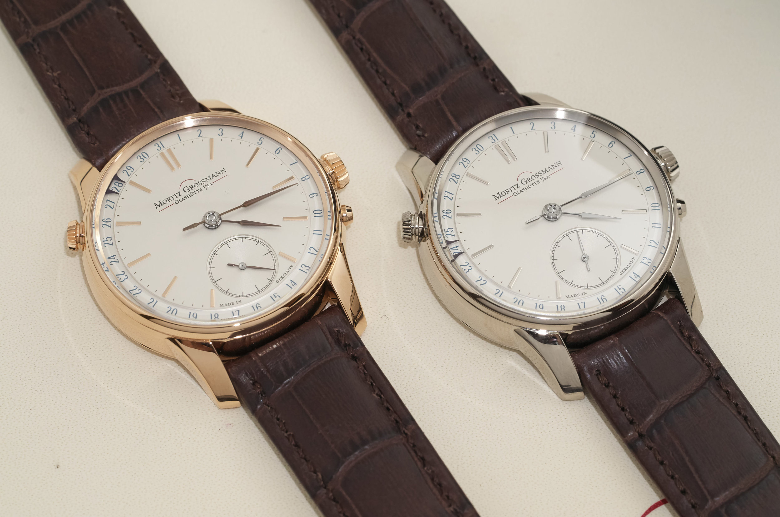 Moritz Grossmann Atum Date in rose gold and white gold