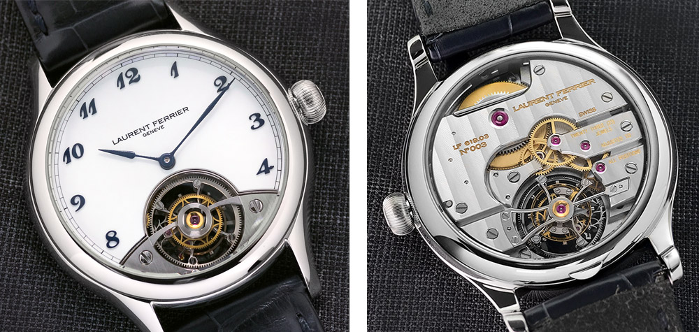 Turning modern tourbillon design on its head, the back of the mechanism is visible from on the dial side, and the front can be seen through the caseback.