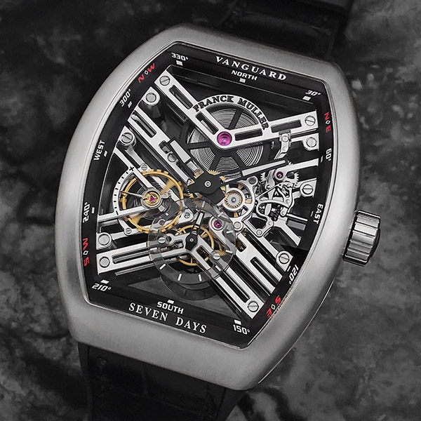 The 7 Day Power Reserve Skeleton balances lines and curves for a distinctive design.