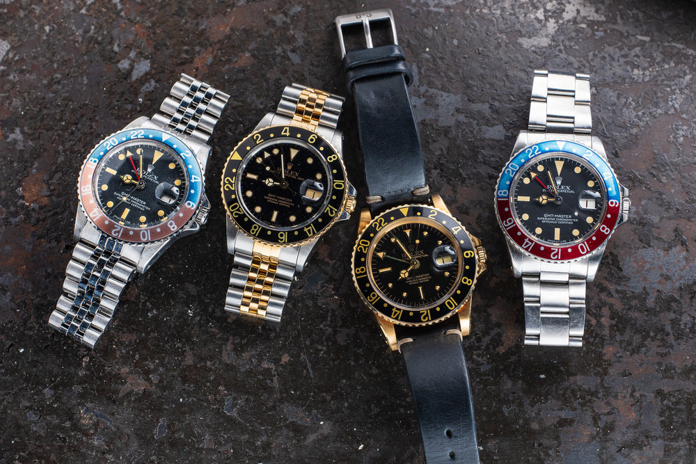 A group of Rolex GMT-Masters as seen on the table at RedBar.