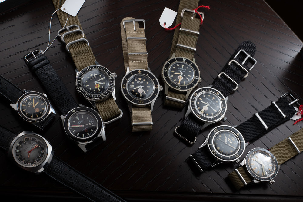 The vintage Fifty Fathoms Collection on display at the Blancpain boutique (Photo by Atom Moore)