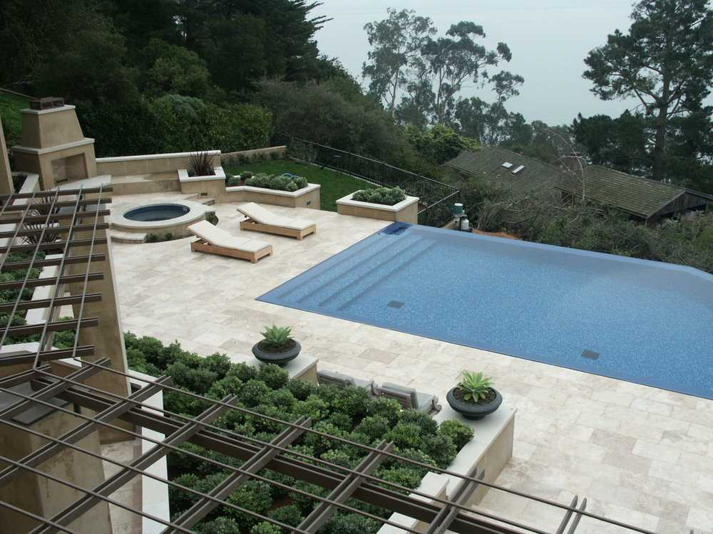 Exterior Stone Tile Patio with mosaic tile pool - Belvedere, CA.jpg