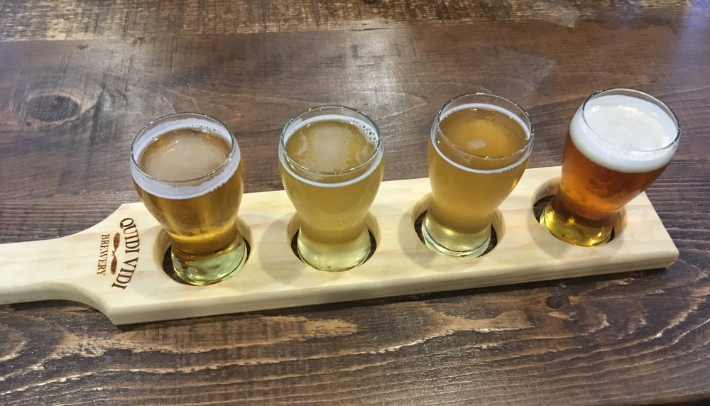 Pictured left to right: Fogtown Lager, Three Seasons Saison, Heavy Metal Kettle Sour, and 1892 Traditional Ale