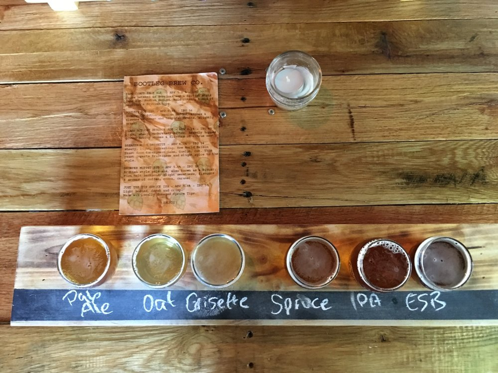Pictured left to right: East Coast Pale Ale, Class Act Oaty Session Ale, Breaker Room Grisette, Just The Tip Spruce IPA, Squiffy Boy IPA, and Drunken Muppet Extra Special Bitter