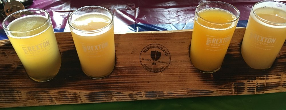 Pictured left to right: High Fives Foeder Aged Kettle Sour, Come Out Wit Ya Belgian Wit, Flight of the Mango Pale Ale, and a Citrus Tea Ale (made in collaboration with Third Place Cocktails).