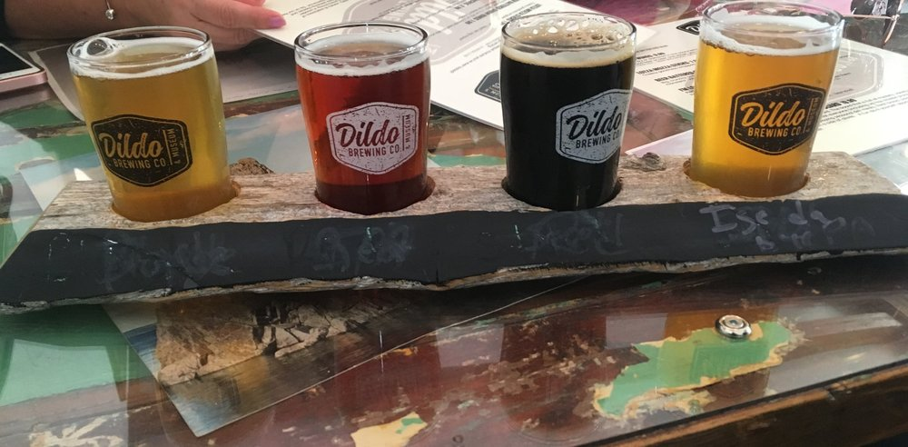 Pictured left to right: Blonde Root 80, Red Rocks Ale, Stout Dildo, I'se da bye PA