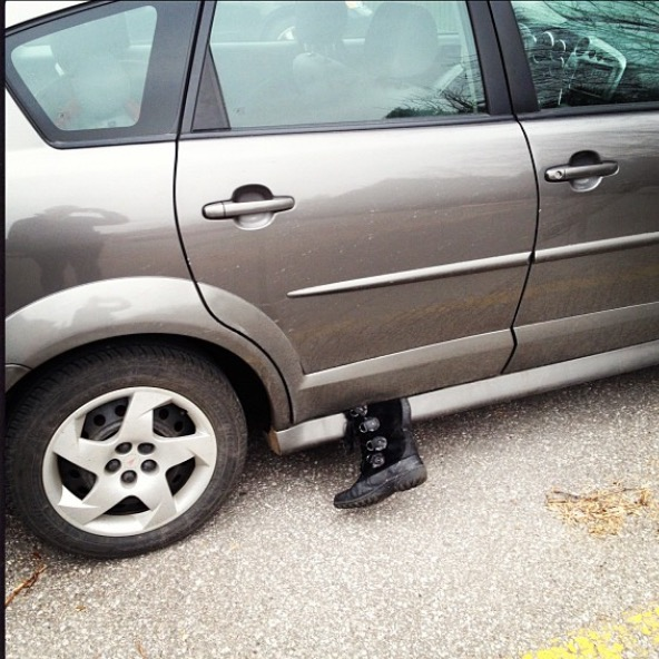 The only picture of my car with my boot stuck in the door. I didn't realize it.