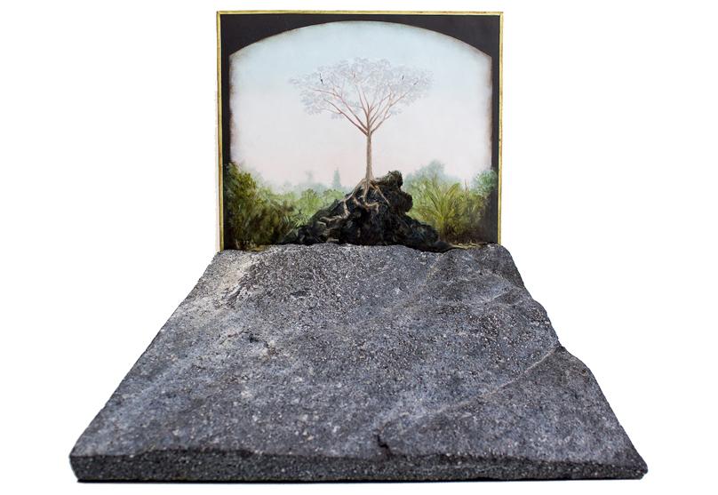 Cecropia Peltata . Serie: Camino de Sierpe . Óleo sobre cobre y hierro, 28 x 28 cm 2018