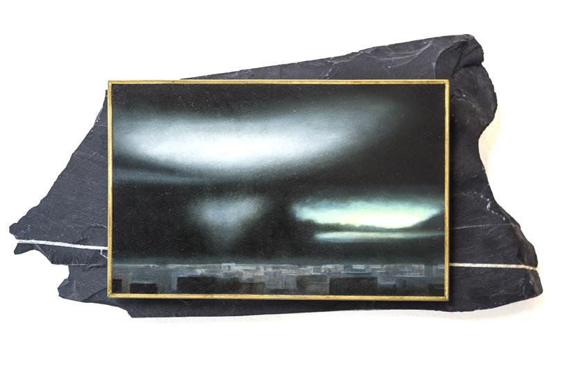 Iluminaciones , De la serie Neotenochtitlan Óleo sobre cobre en laja 15 x 31 cm 2018