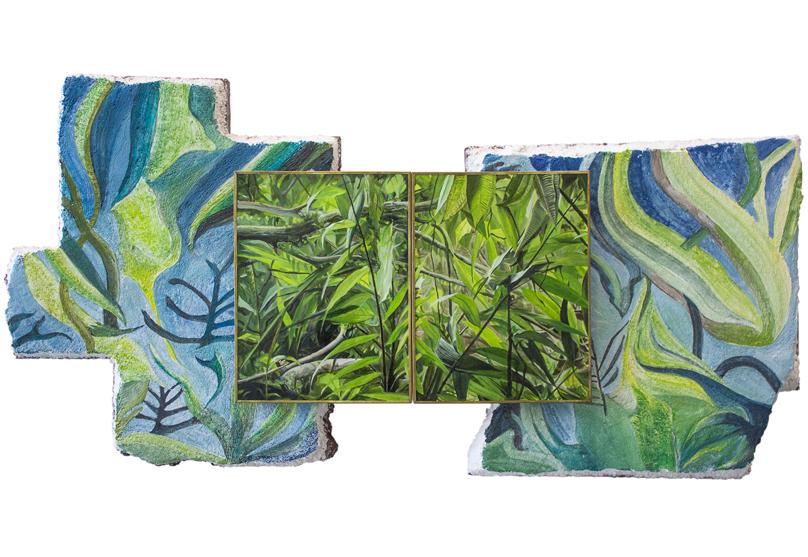 Camino . Serie: Camino de Sierpe. Fresco sobre tezontle 30 x 35 cm 2018