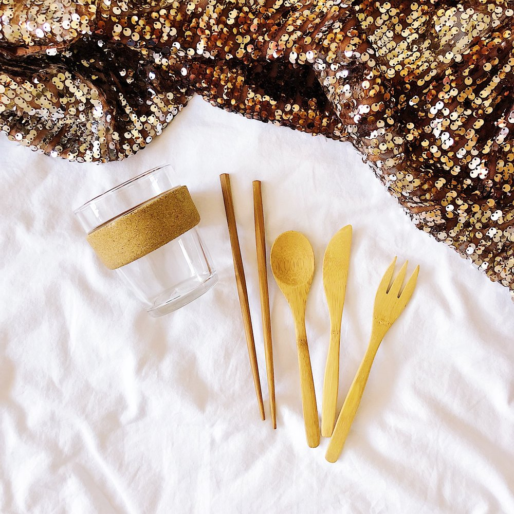 Zero Waste Party with reusable mug and bamboo utensil