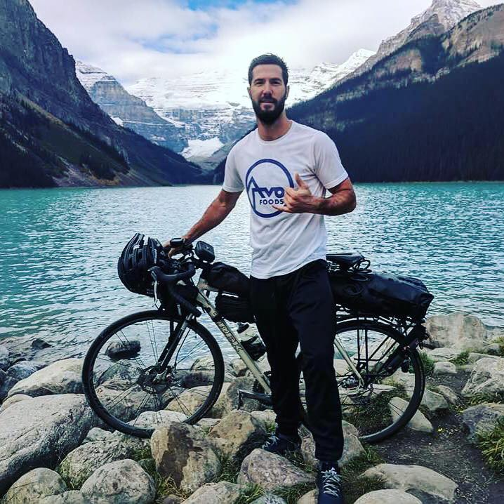 Chef Austin Henry bikes through Alberta, Canada.