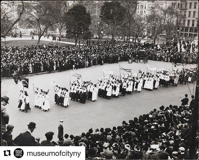 #Repost @museumofcityny ・・・ Women marching in the street was a sight to be seen in 1915! 😲 New York suffragists were the first to enlist women to march in parades, making their movement public and difficult to ignore in a revolutionary way for the time. How else did New York suffragists campaign for women's right to vote? It's the last weekend for you to find out in #BeyondSuffrage before its last day on Aug 5th! We're open 10am-6pm Saturday and Sunday.  __ Suffrage parade through Madison Square, 1915, Museum of the City of New York, Photo Archives, X2010.11.10836.