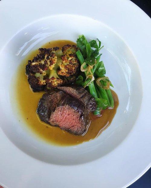 American Wagyu Hanger Steak Vadouvan Butter Roasted Cauliflower Romano Bean And Aged Sherry