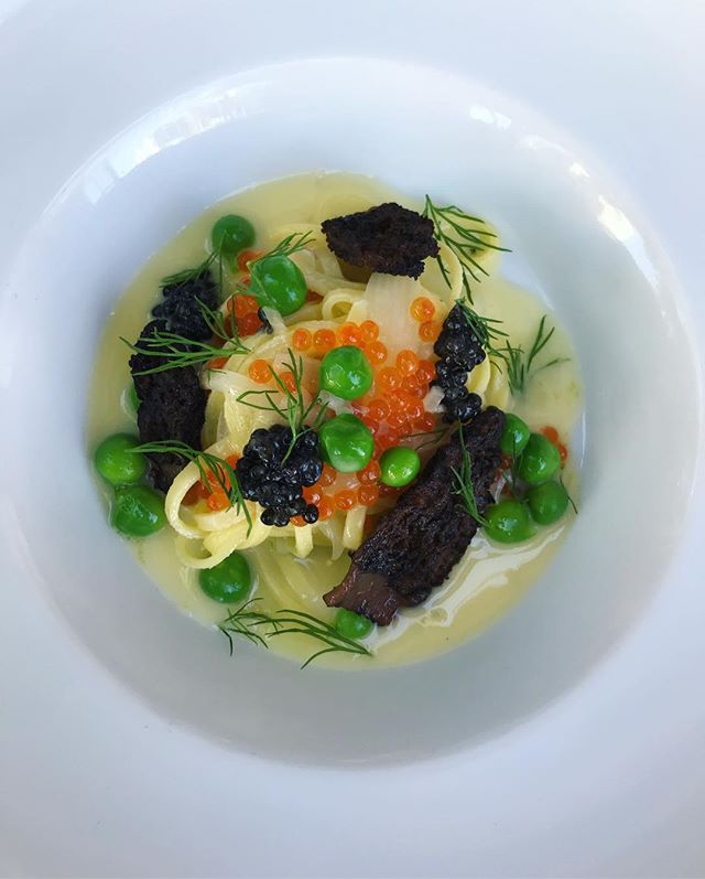 Chitarra pasta, caviar, English peas, wood grilled morels, beurre blanc