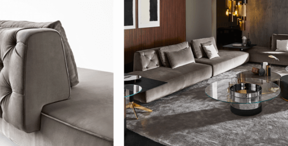 Fiona Sofa - Massimo Castagna, 2018 With a focus on comfort and versatility, Fiona modular sofa features sartorial details visible in the sculpted backrest with Capitonné finish and matching piping. The different elements can be combined together to create sophisticated and intimate atmospheres or large modular systems.