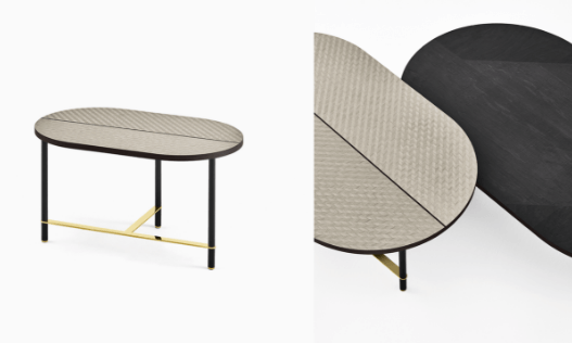 """Cookies Coffee Table New finishes - Designed by Pietro Russo, 2017 Characterized by a slender structure with brass details and soft, geometric lines, Cookies coffee tables are rooted in the past with an attitude towards the future. In the 2018 Collection, Cookies has been revisited and presented in a new wooden version in three finishes featuring inlaid wooden top with """"Tweed"""" pattern,Maple Frisé dark grey or a combination of Taba Frisé white and Tanganika black wood."""