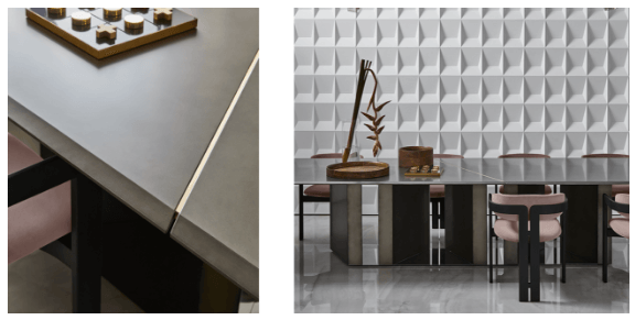 Platium XL Dining Table - Oscar & Gabriele Buratti, 2018 A new addition to the Platium series, Platium XL modular dining table features a painted glass top treated with an exclusive antique bronze finish to resemble the quality of metals. The effect is achieved by hand-decorating the surface with vertical movements in order to create a distinctive and unique texture.