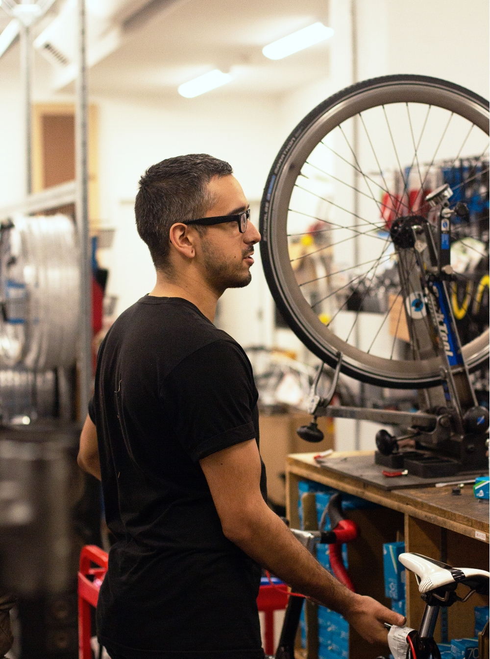 service shop - We provide professional tune-ups and repairs in our service shop. All profits raised by the Bike Kitchen are used to fund our programs and outreach in the community. Learn More