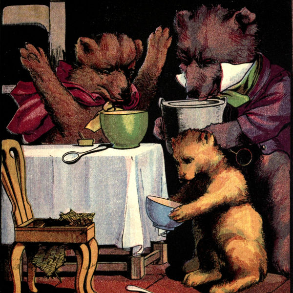 In this unedited version of Goldilocks and the Three Bears, the bears are seen examining pantry pests which have apparently made their way into the meal used to make breakfast.