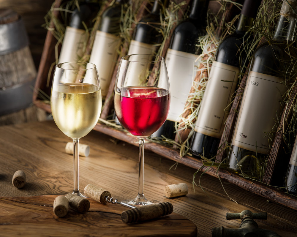 Glasses with White Wine and Red Wine