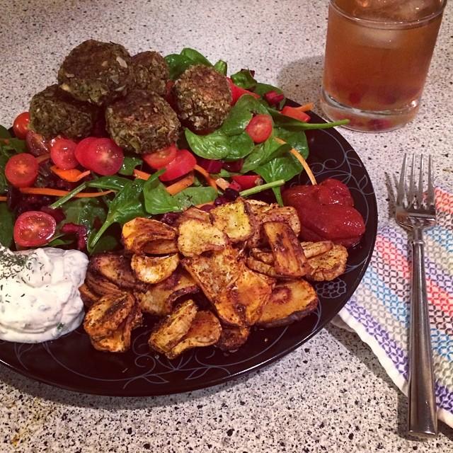 Homemade Falafel Greek Salad