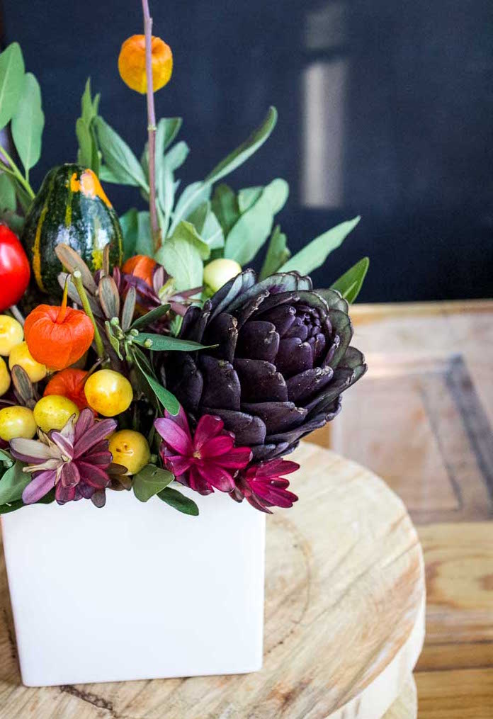 modern florals with produce