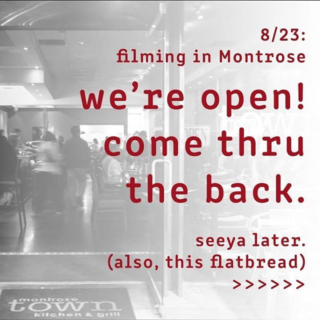 They're still filming on Honolulu. Town is still open. You're still hungry. It's all going to be okay. Also, a gratuitous flatbread 🍕 See ya later 👋 . (still open...at 5:30) #montrose #dinner #town #flatbread #thursday #dineout