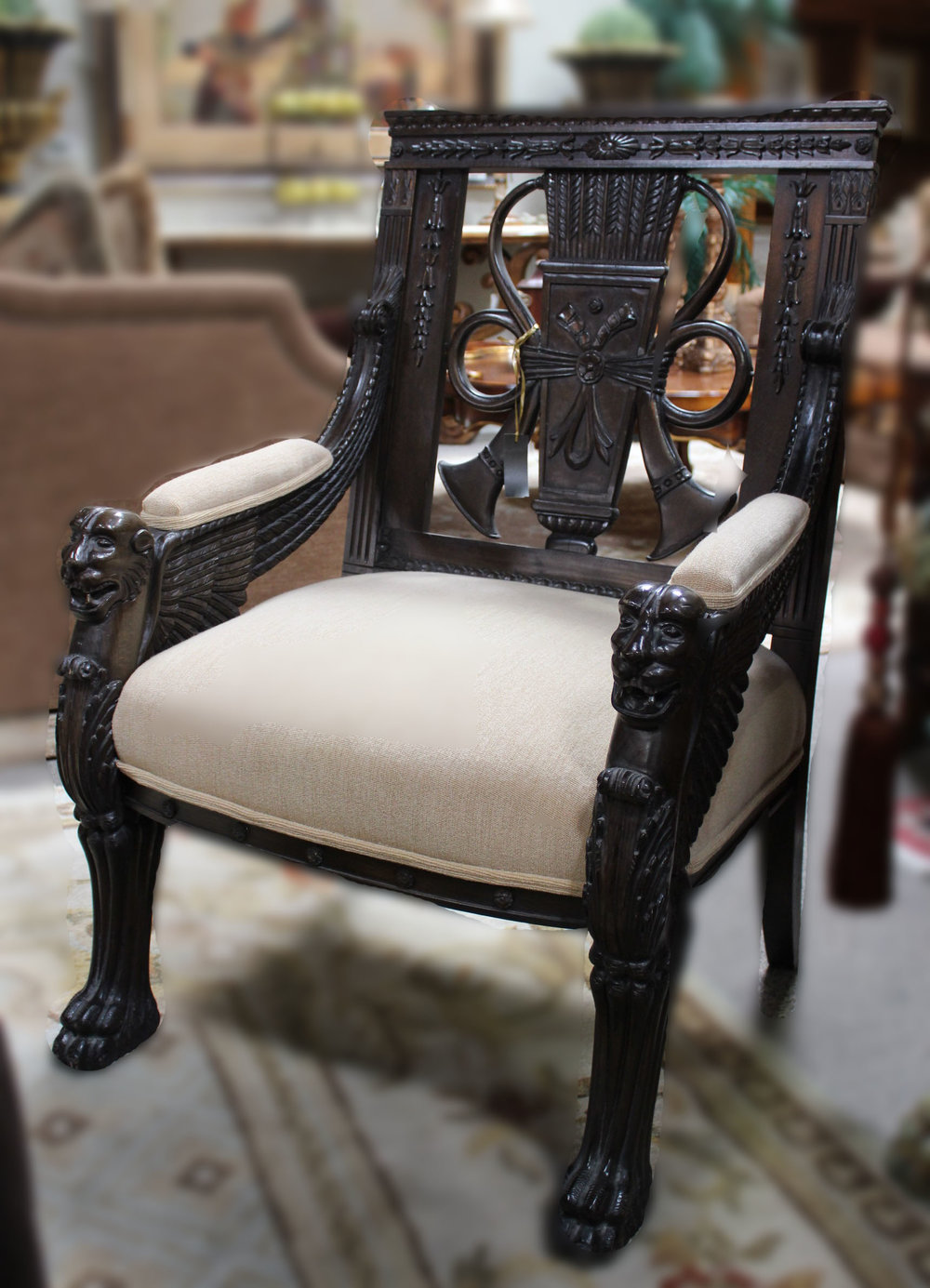 Handmade Griffin Chair with Light Brown Fabric