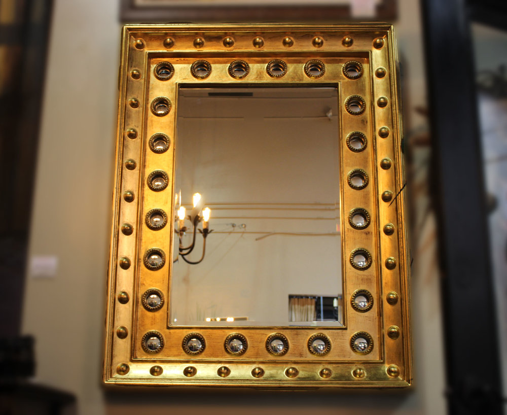 Pair of Copper Mirrors with Nailheads