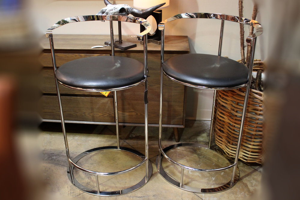 Interlude NEW Pair of Hayes Stainless Steel Black Leather Barstools