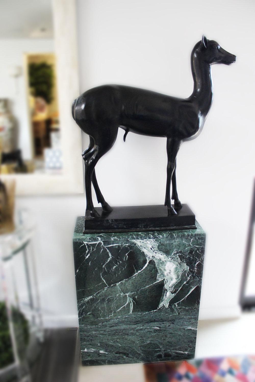 Pair of Bronze Deer with Pedestals