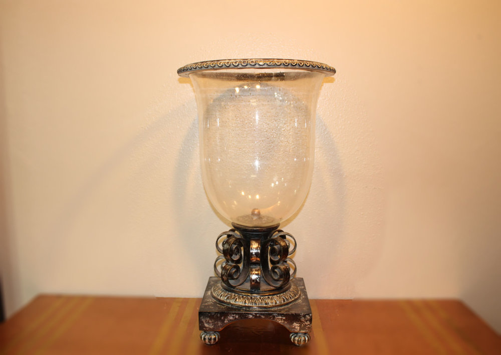 Glass Hurricane Candle Holder with Distressed Silver