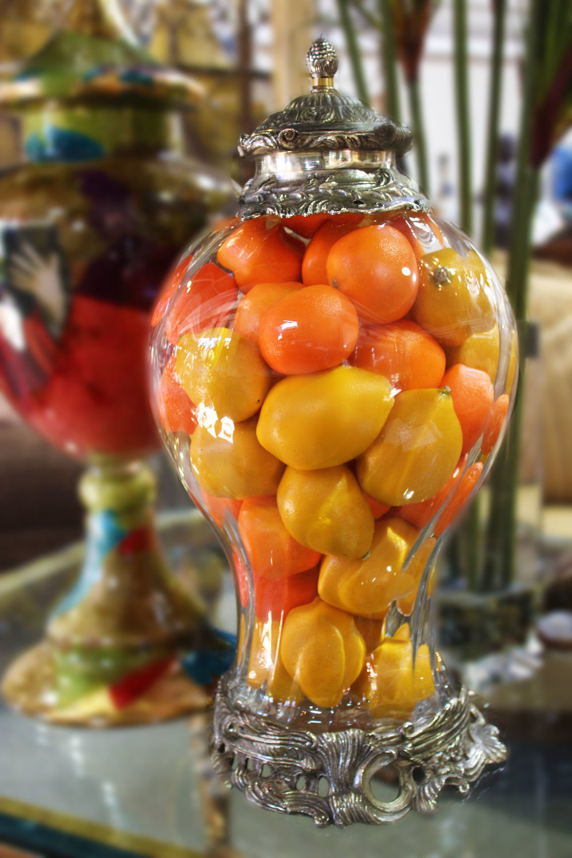 Glass Urn with Lemons & Oranges