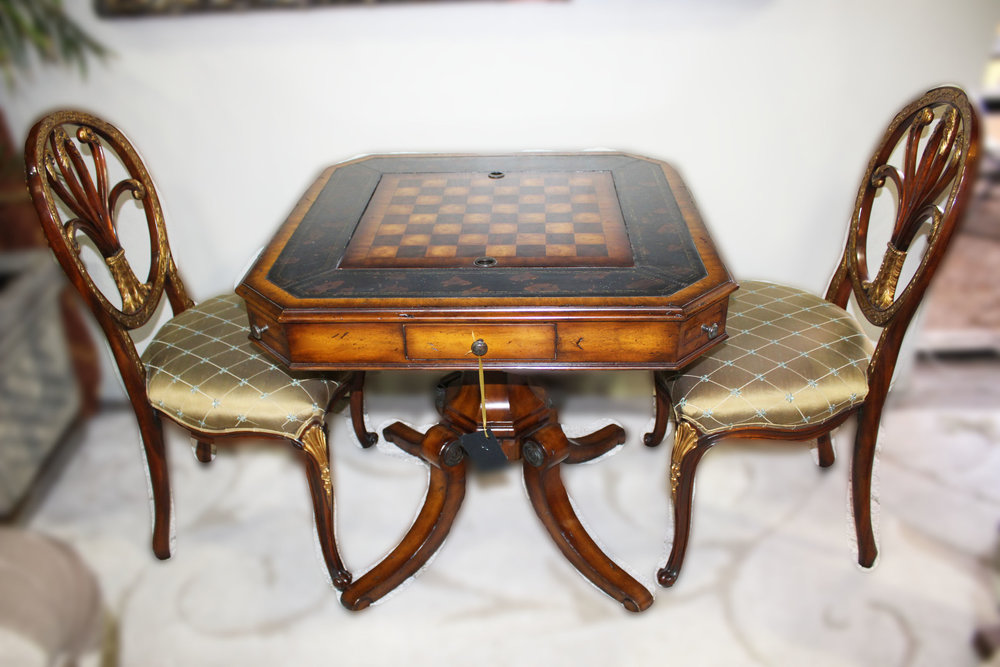 Maitland Smith Game Table with 2 Chairs