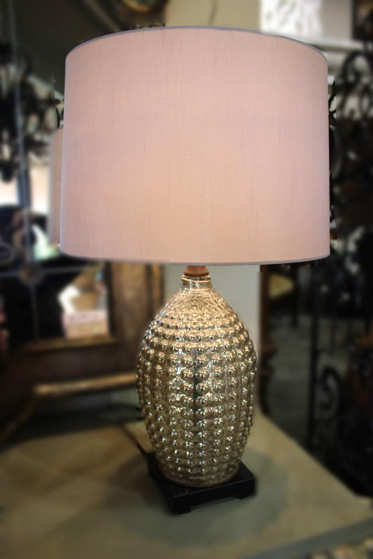 Pair Antique Mercury Glass Lamps