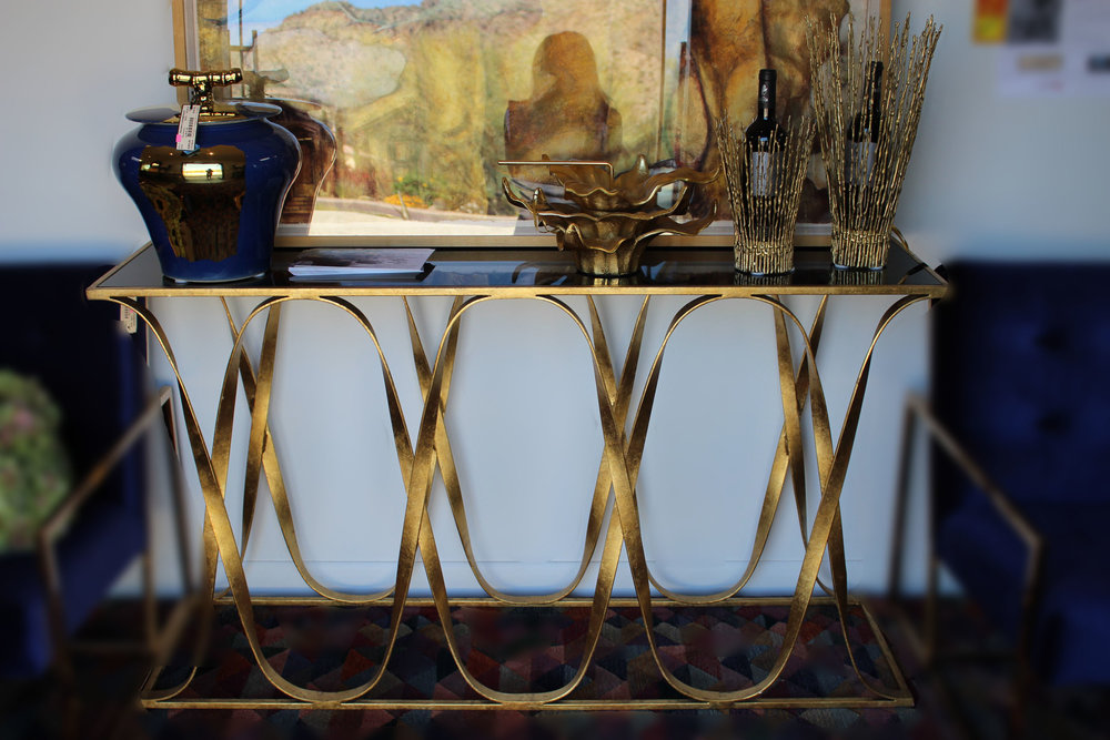 Currey & Company Sabine Gold with Black Stone Top Console