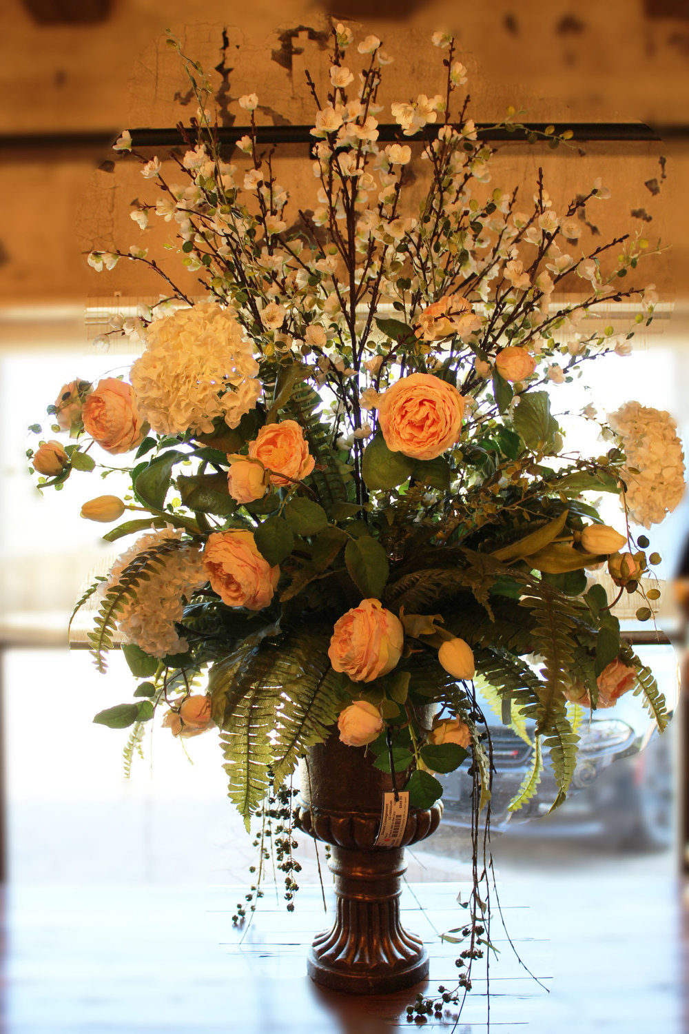 Large Peach & White Floral in Gold Urn