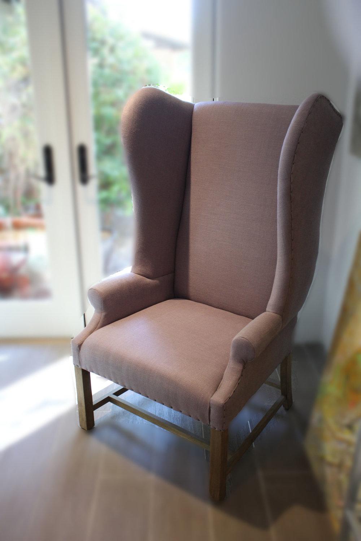 Restoration Hardware Lavender Wingback Chair