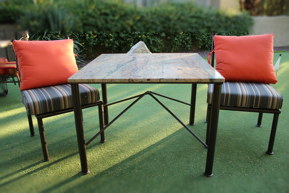 Outdoor Table with Granite Top & Pair of Grey & Orange Outdoor Side Chairs
