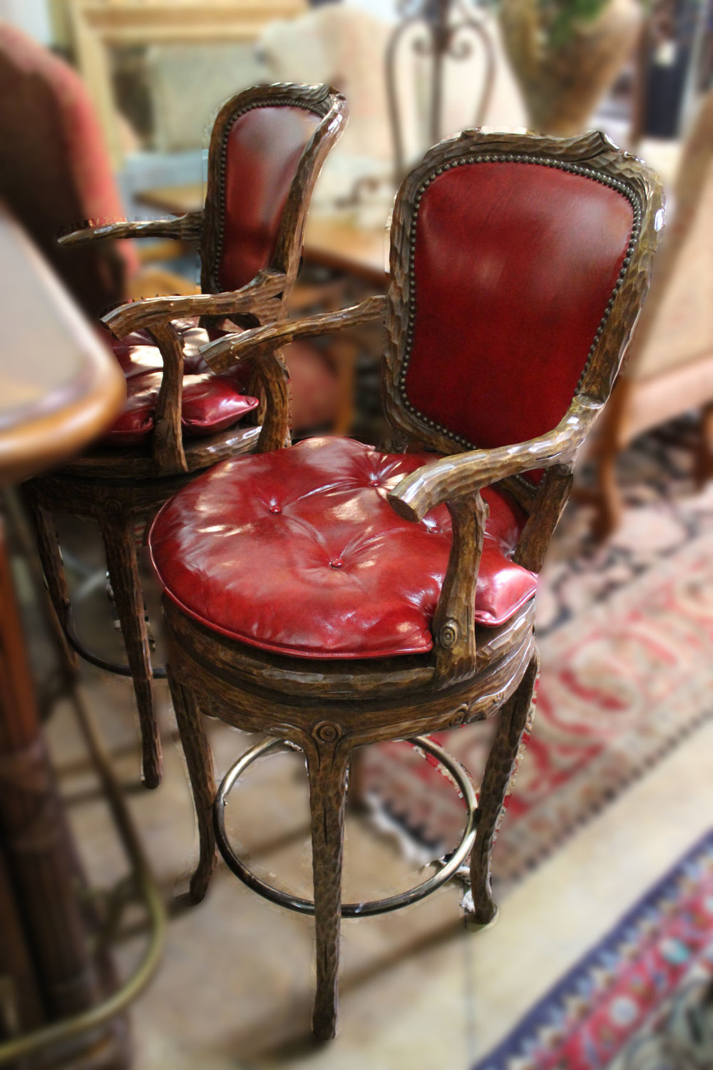 Red Leather Barstools