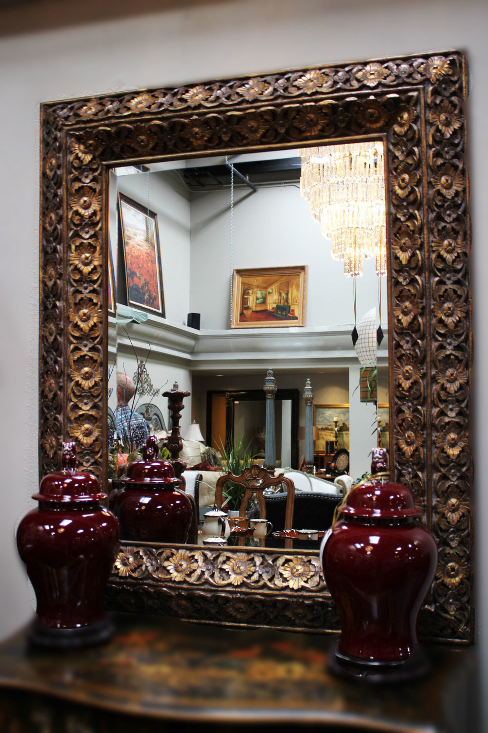 Faux Carved Wood Mirror