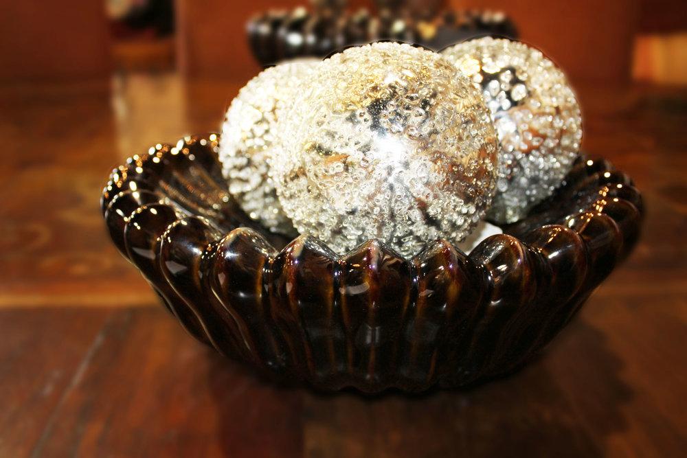 Global Views Brown Flat Ceramic Bowl & Set of 3 Mercury Silver Balls