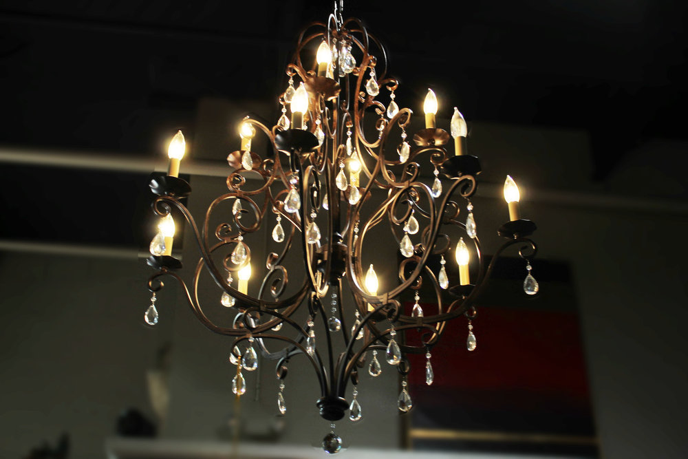 12 Light Swirl Chandelier with Crystals