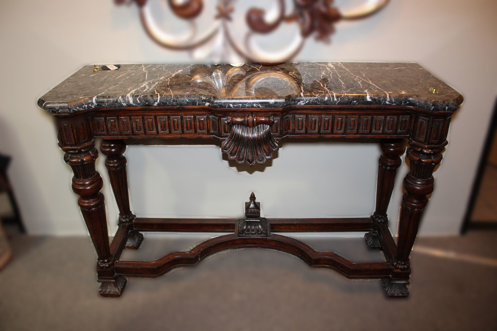 Black Marble Top Console AS IS