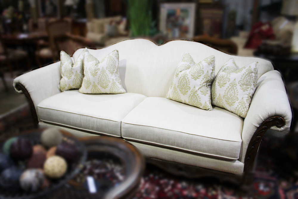 Schnadig Off White Sofa with Wood Frame
