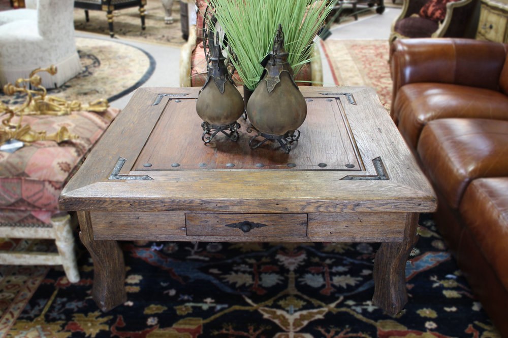 Wood with Iron Accents Cocktail Table