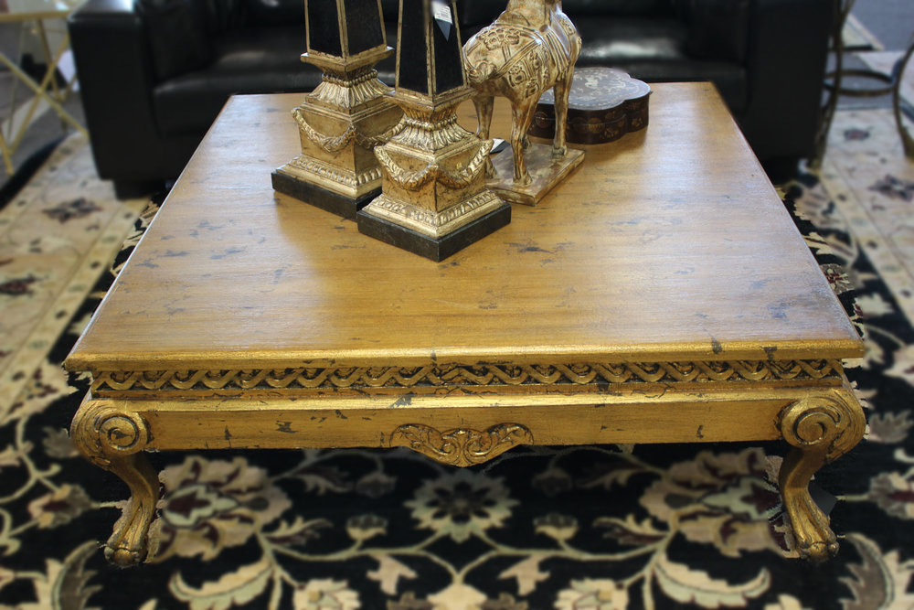 Gold Leaf Cocktail Table with Ball & Claw Feet