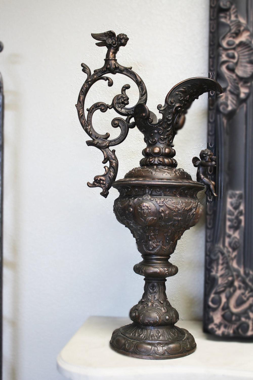 Pair of Antique Bronze Urns